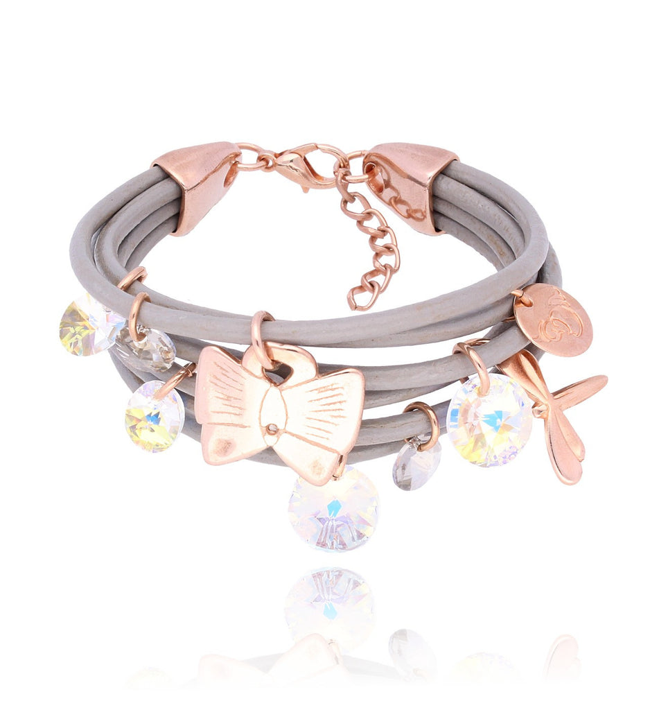 By Dziubeka Ireland Grey Bracelet with Opalescent and Transparent Swarovski Crystals and Pink Gold Metal Elements BIL4879