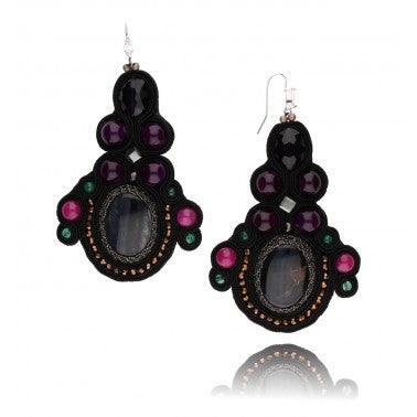By Dziubeka Ireland Black, Pink, Purple and Green Statement Earrings with Natural Stones, Glass Crystals and Beads KMS0584