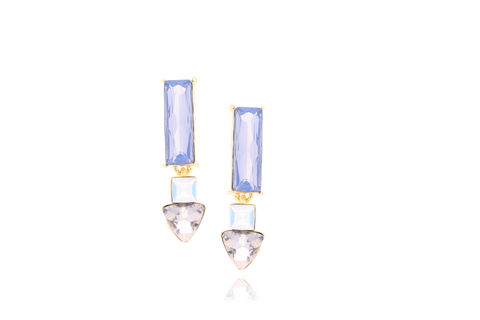 Milk and Grey Earrings with Glass Crystals KSS0074
