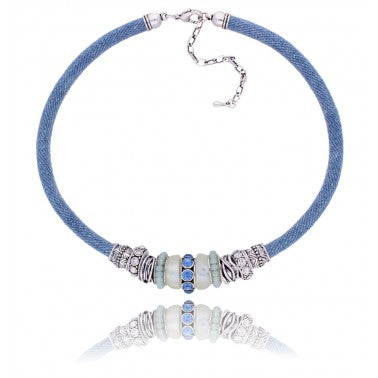 Blue and Silver Boho Necklace NBR0034