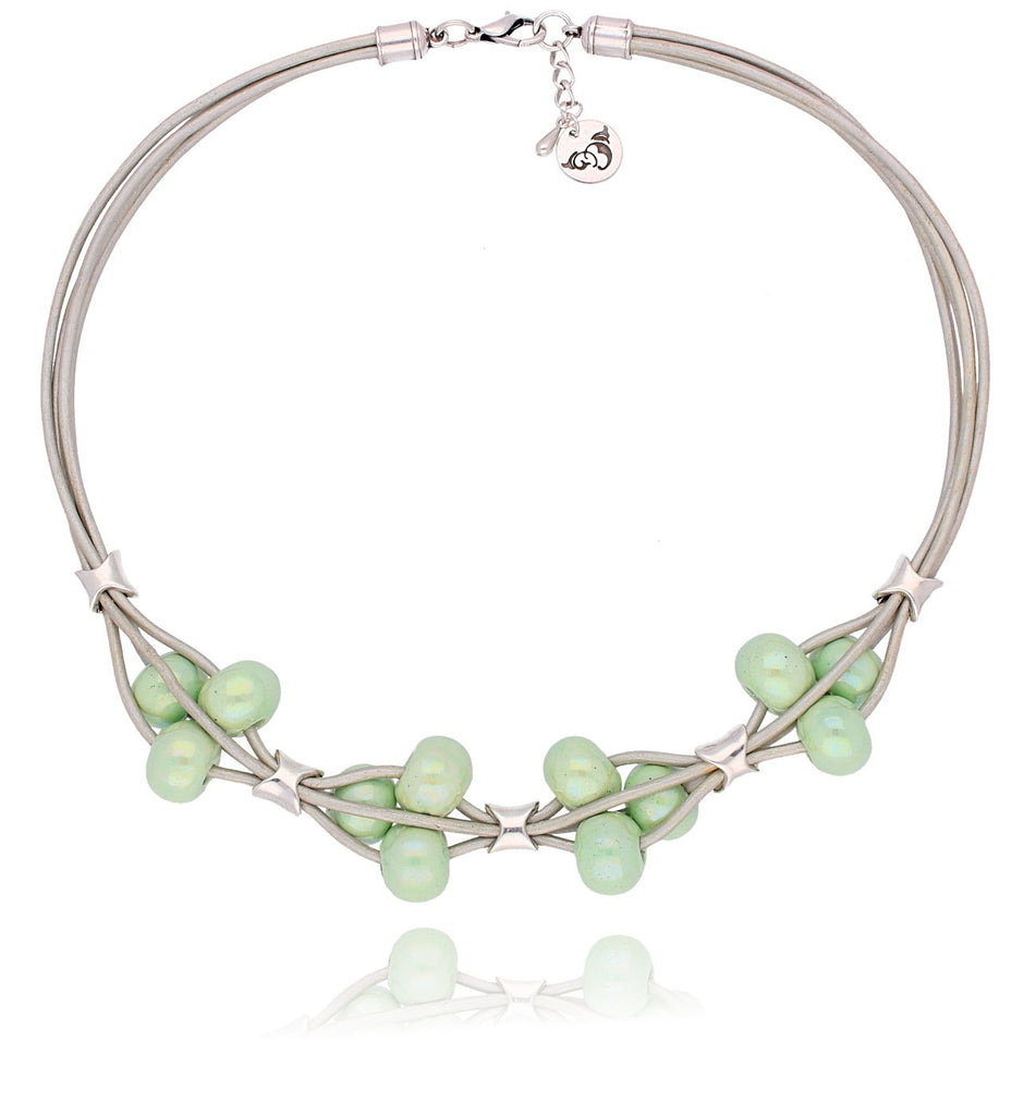 By Dziubeka Ireland Pearl Necklace with Light Green Ceramics