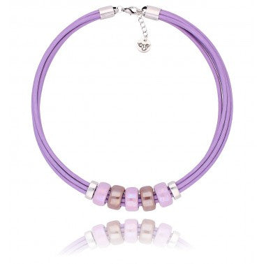 By Dziubeka Ireland Lilac Necklace with Beige and Lilac Ceramics
