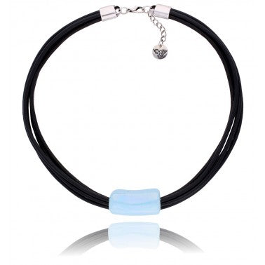 Sky Blue and Black Ceramics Necklace NC2428