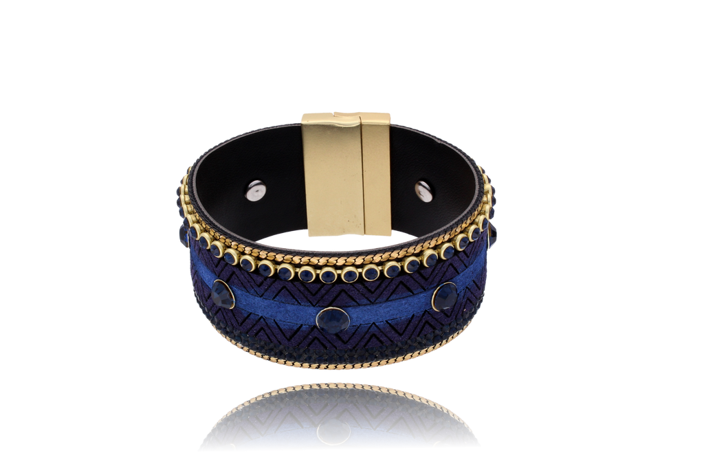 By Dziubeka Ireland Navy Boho Bracelet with Navy Crystals and Gold Ribbon BBR0037
