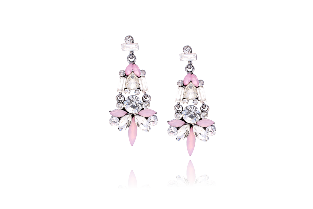 By Dziubeka Ireland Pink, Transparent and Milk Earrings with Acrylic Crystals KSS0101