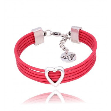 By Dziubeka Ireland Red Bracelet with Silver Heart BIL5637