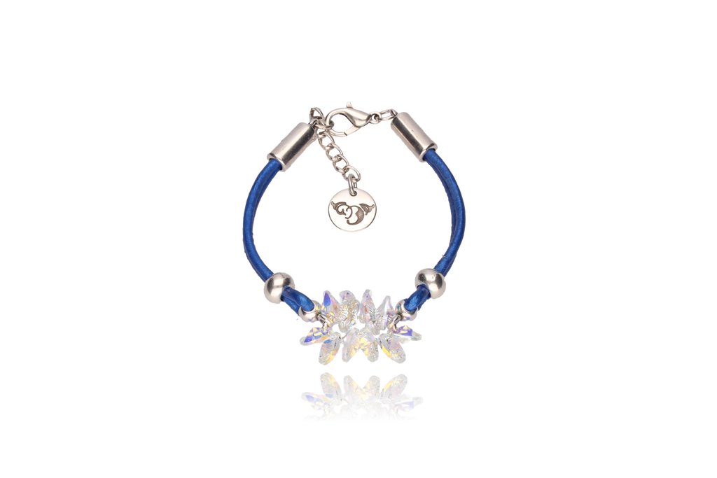 By Dziubeka Ireland Sapphire Bracelet with Opalescent Swarovski Crystals and Silver Metal Element BIL5389