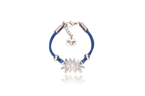 Sapphire Bracelet with Opalescent Swarovski Crystals and Silver Metal Element BIL5389