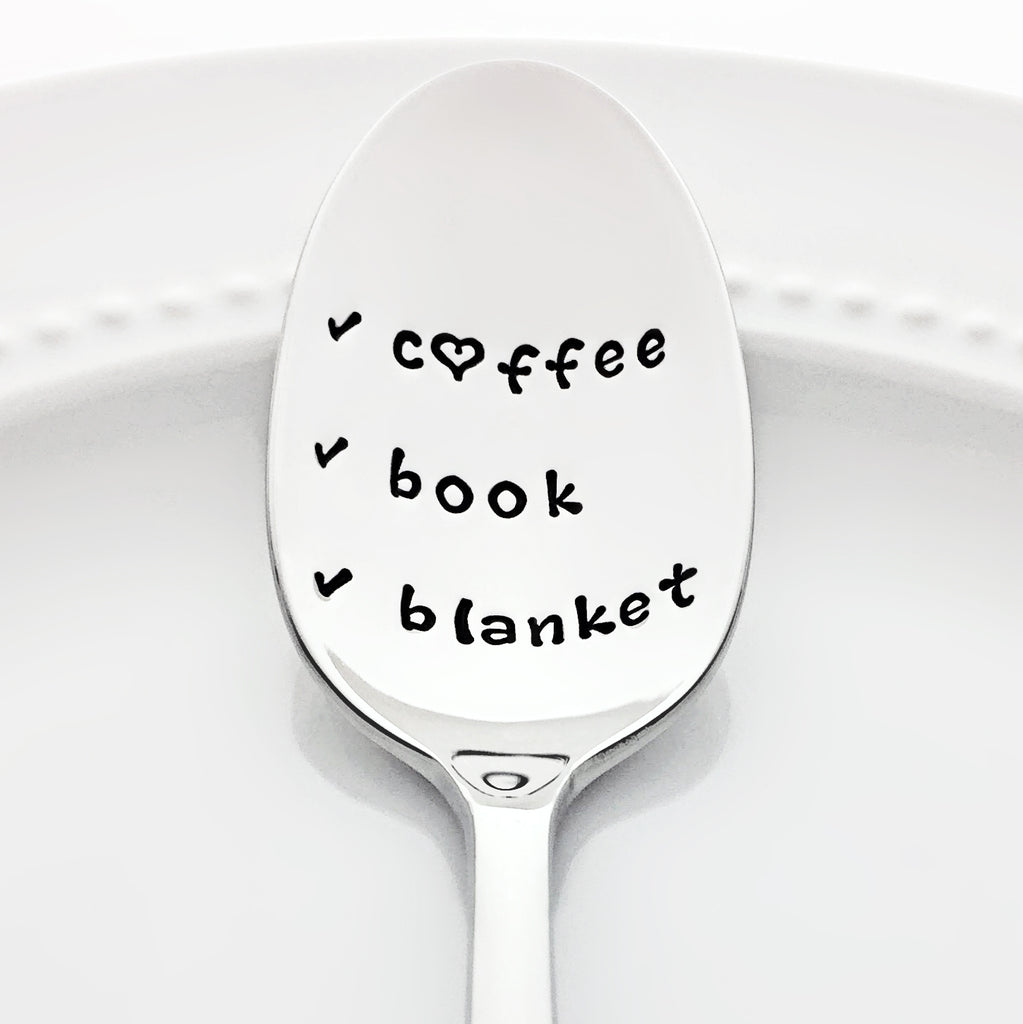 Coffee Book Blanket Stamped Checklist Spoon Hygge Gift for Readers by Bon Vivant Design House