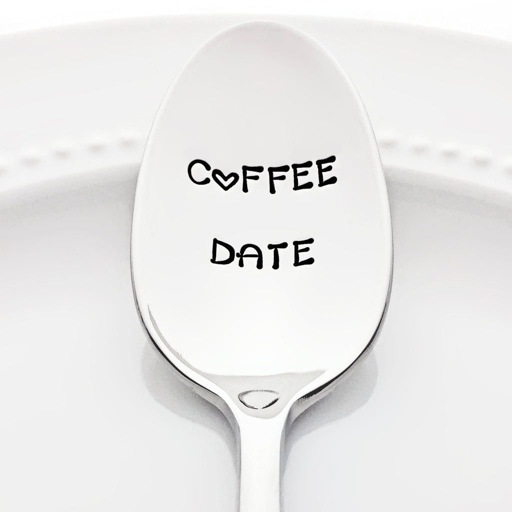 Coffee Date Stamped Spoon with Heart Coffee Accessory by Bon Vivant Design House