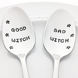 Good Witch Bad Witch Halloween Food Decor Stamped Spoons by Bon Vivant Design House