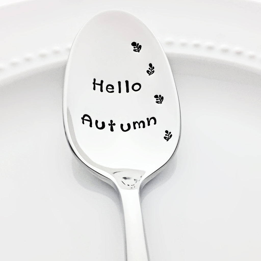 Hello Autumn Decor Stamped Spoon with Fall Leaves by Bon Vivant Design House