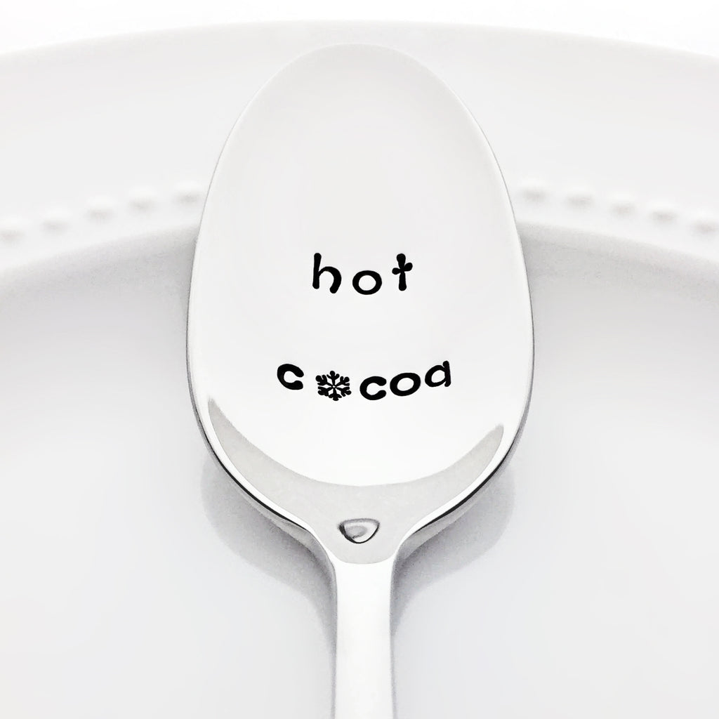 Hot Cocoa Stamped Spoon with Snowflake Hygge Gift for Her by Bon Vivant Design House