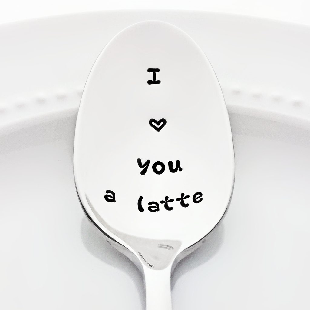 I love you a latte stamped spoon Valentine Gift for Her coffee decor
