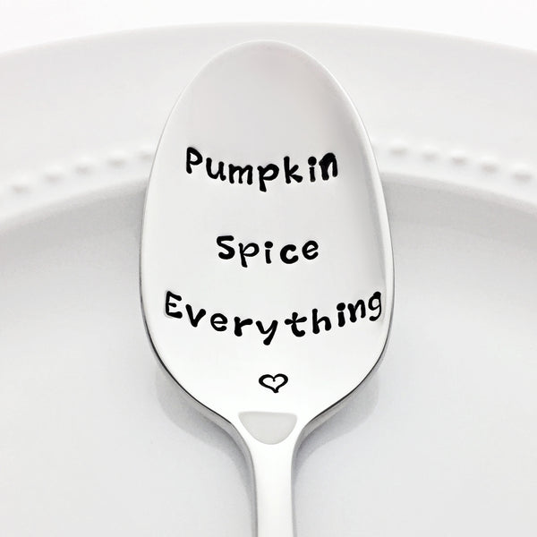 Pumpkin Spice Everything Autumn Decor Stamped Spoon Pumpkin Spice Latte PSL Coffee Spoon by Bon Vivant Design House