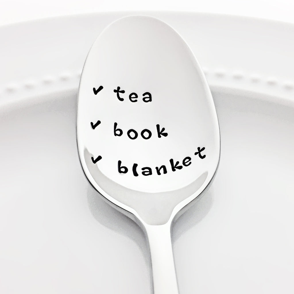 Tea Book Blanket Stamped Checklist Spoon Hygge Gift for Book Lovers by Bon Vivant Design House