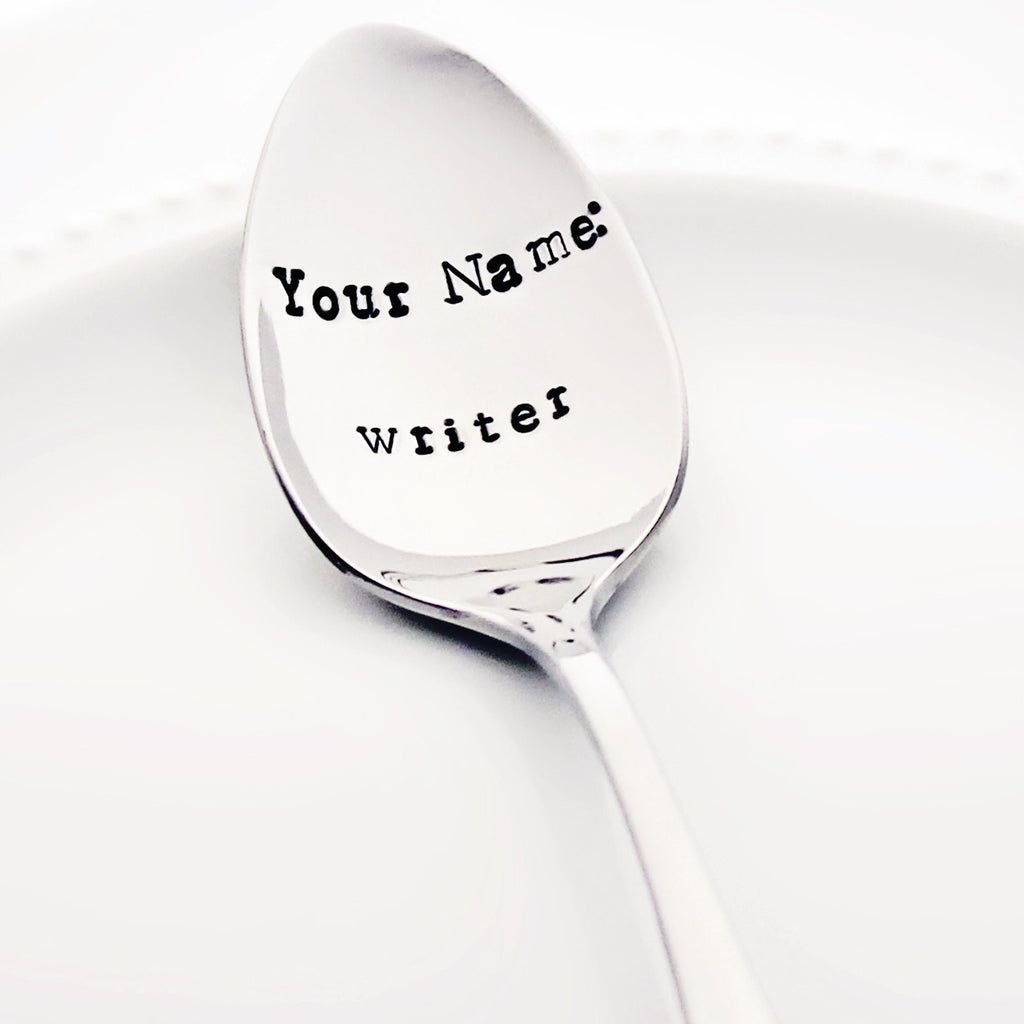"Personalized ""Your Name: writer"" - Stamped Spoon"