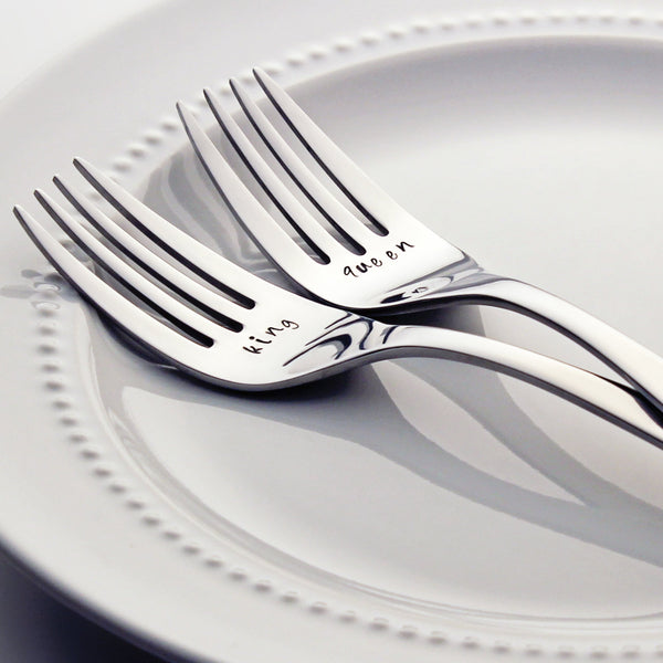 King / Queen - Stamped Wedding Forks