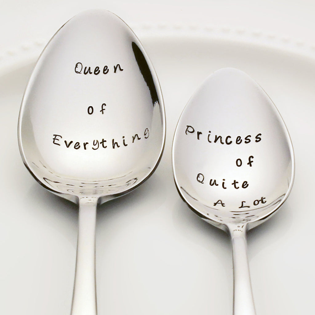 Queen of Everything / Princess of Quite A Lot - Stamped Spoon Set for Mom and Daughter