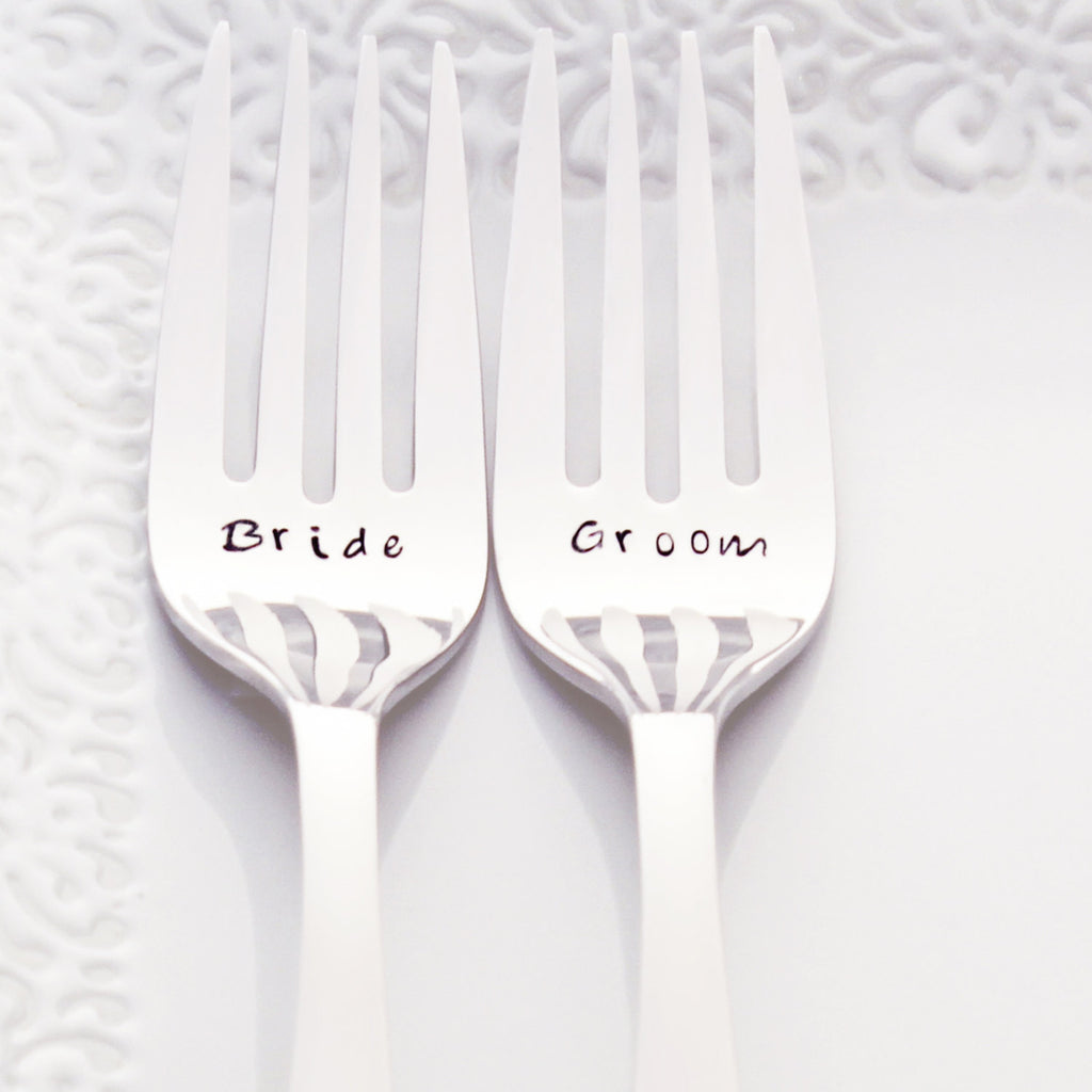 Bride and Groom - Stamped Wedding Forks