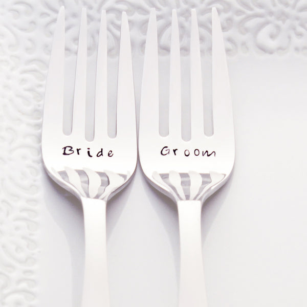 Bride and Groom - Stamped Wedding Forks (Add a Custom Wedding Date)