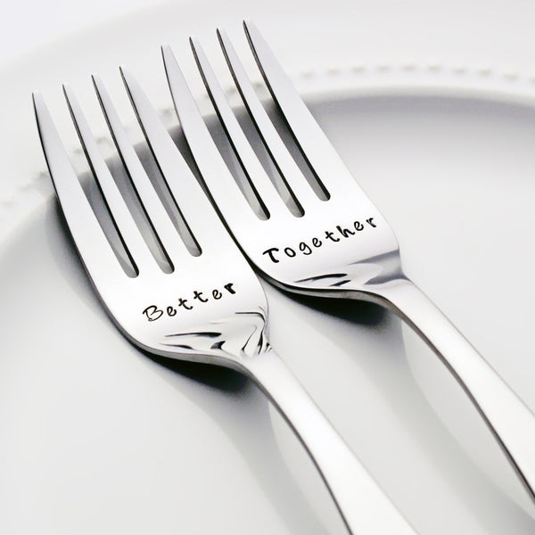 Better Together - Stamped Wedding Forks (Add a Custom Wedding Date)