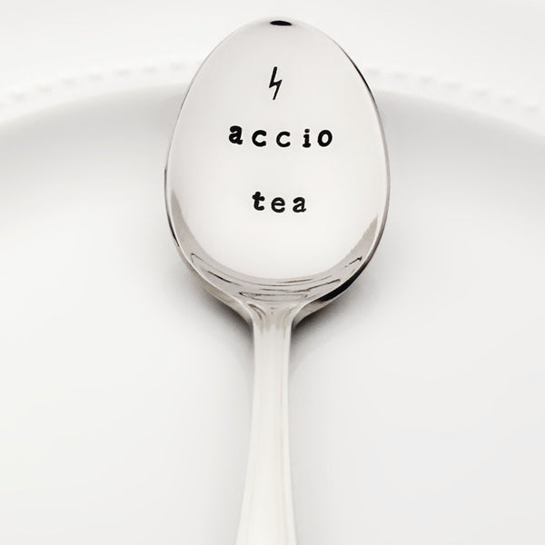 "Harry Potter ""Accio Tea"" with Lightning Bolt - Stamped Spoon"