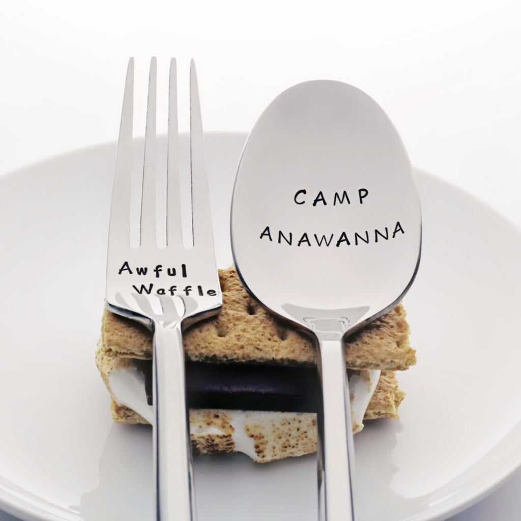 "Salute Your Shorts: ""Camp Anawanna"" / ""Awful Waffle"" - I Love the 90s Theme Stamped Spoon and Fork Set"