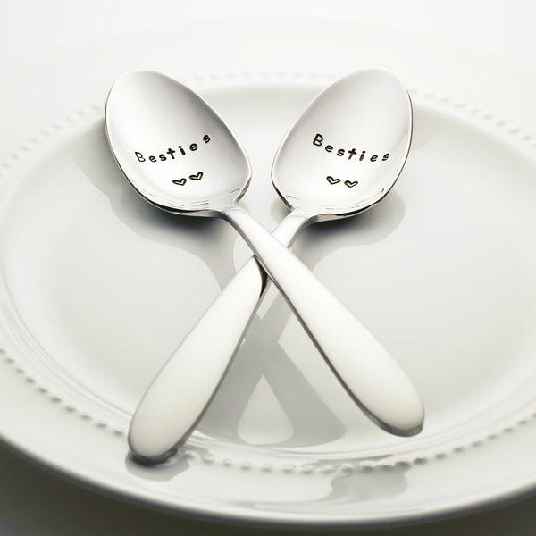 Besties (double heart) - Stamped Spoon Set