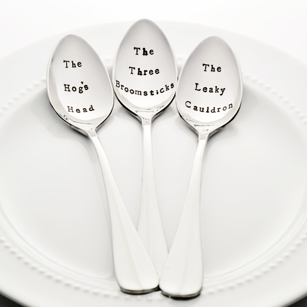"Harry Potter Pub Set: ""The Hog's Head"", ""The Three Broomsticks"" & ""The Leaky Cauldron"" - Stamped Spoon"
