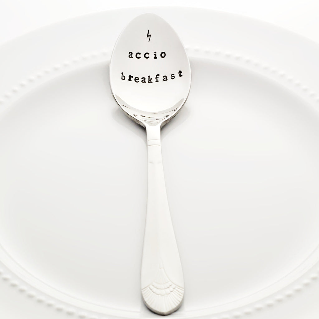 "Harry Potter: ""Accio Breakfast"" with Lightening Bolt - Stamped Spoon"