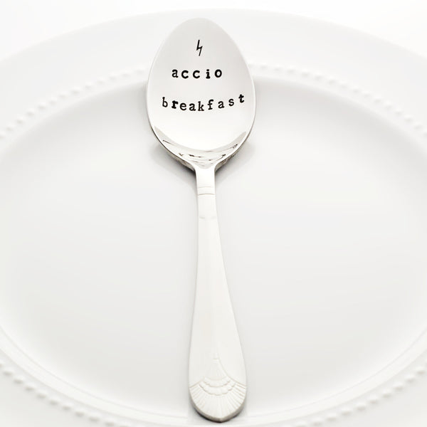 "Harry Potter: ""Accio Breakfast"" with Lightning Bolt - Stamped Spoon"