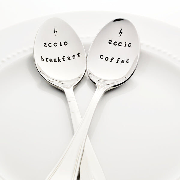 "Harry Potter: ""Accio Breakfast"" and ""Accio Coffee"" Stamped Spoon Set with Lightning Bolts"