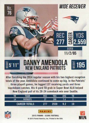 2015 Score - Danny Amendola #76 - Iconic Relics - Football Cards