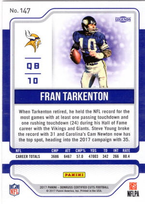 2017 Certified Cuts *Legends*  - Fran Tarkenton (#'d 322/399) #147 - Iconic Relics - Football Cards