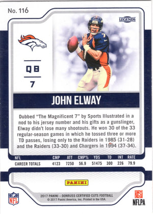 2017 Certified Cuts *Legends*  - John Elway (#'d 289/399) #116