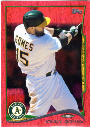 2014 Topps *Red Hot Foil Parallel* - Jonny Gomes #US-327 - Iconic Relics - Baseball Cards