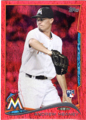 2014 Topps *Red Hot Foil Parallel* - Andrew Heaney (Rookie, RC) #US-245 - Iconic Relics - Baseball Cards