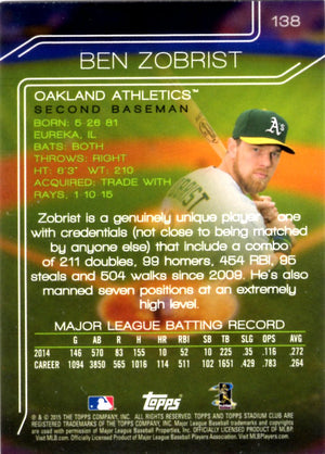 2015 Stadium Club - Ben Zobrist #138 - Iconic Relics - Baseball Cards