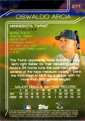 2015 Stadium Club - Oswaldo Arcia #277 - Iconic Relics - Baseball Cards