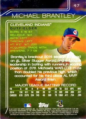 2015 Stadium Club - Michael Brantley #47 - Iconic Relics - Baseball Cards