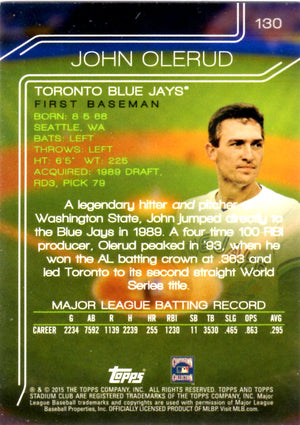 2015 Stadium Club - John Olerud #130 - Iconic Relics