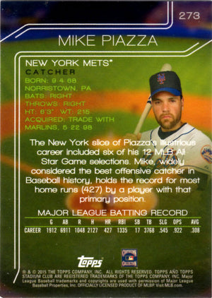 2015 Stadium Club - Mike Piazza #273 (Gold Parallel) - Iconic Relics - Baseball Cards
