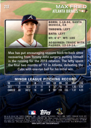 2018 Stadium Club - Max Fried #217 (Rookie, RC) Baseball Cards - Iconic Relics