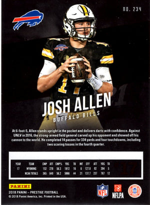 2018 Prestige - Josh Allen (Red Parallell, Rookie, RC) #234 Football Cards - Iconic Relics