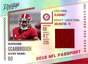 2018 Prestige *NFL Passport* - Bo Scarbrough (Jersey, Rookie, RC)  #PP - BS Football Cards - Iconic Relics
