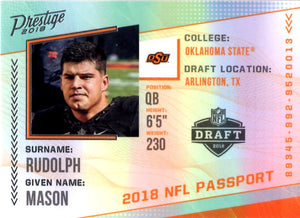 2018 Prestige *NFL Passport* - Mason Rudolph #PP - MR Football Cards - Iconic Relics