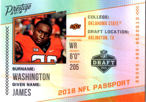 2018 Prestige *NFL Passport* - James Washington #PP - JW Football Cards - Iconic Relics