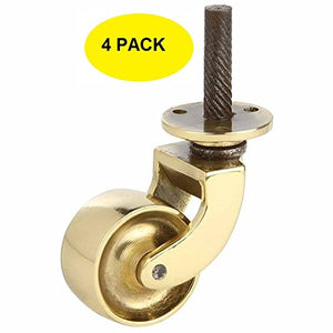 Set of 4, 1 1/4 Inch Solid Brass Swivel Caster Heavy Duty & Safe for All Floors Perfect Replacement for Floor Mat Polished Lacquered Finish Caster Wheels for Chairs/Tables/Furniture
