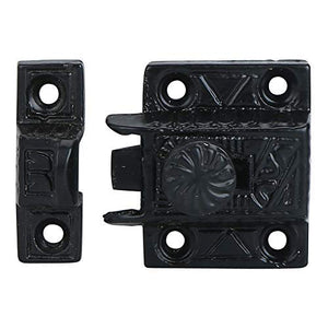 Iron Cabinet Latch with Twist Knob Handmade Black Powder Finish Latch for Cabinet Closet Kitchen Door Windsor Design Sold as Each